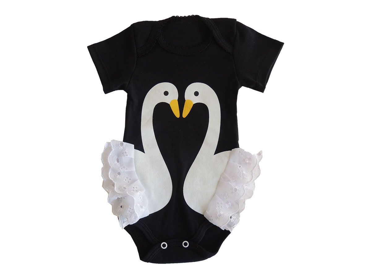 Body Bebê Menina Estampa de Cisne