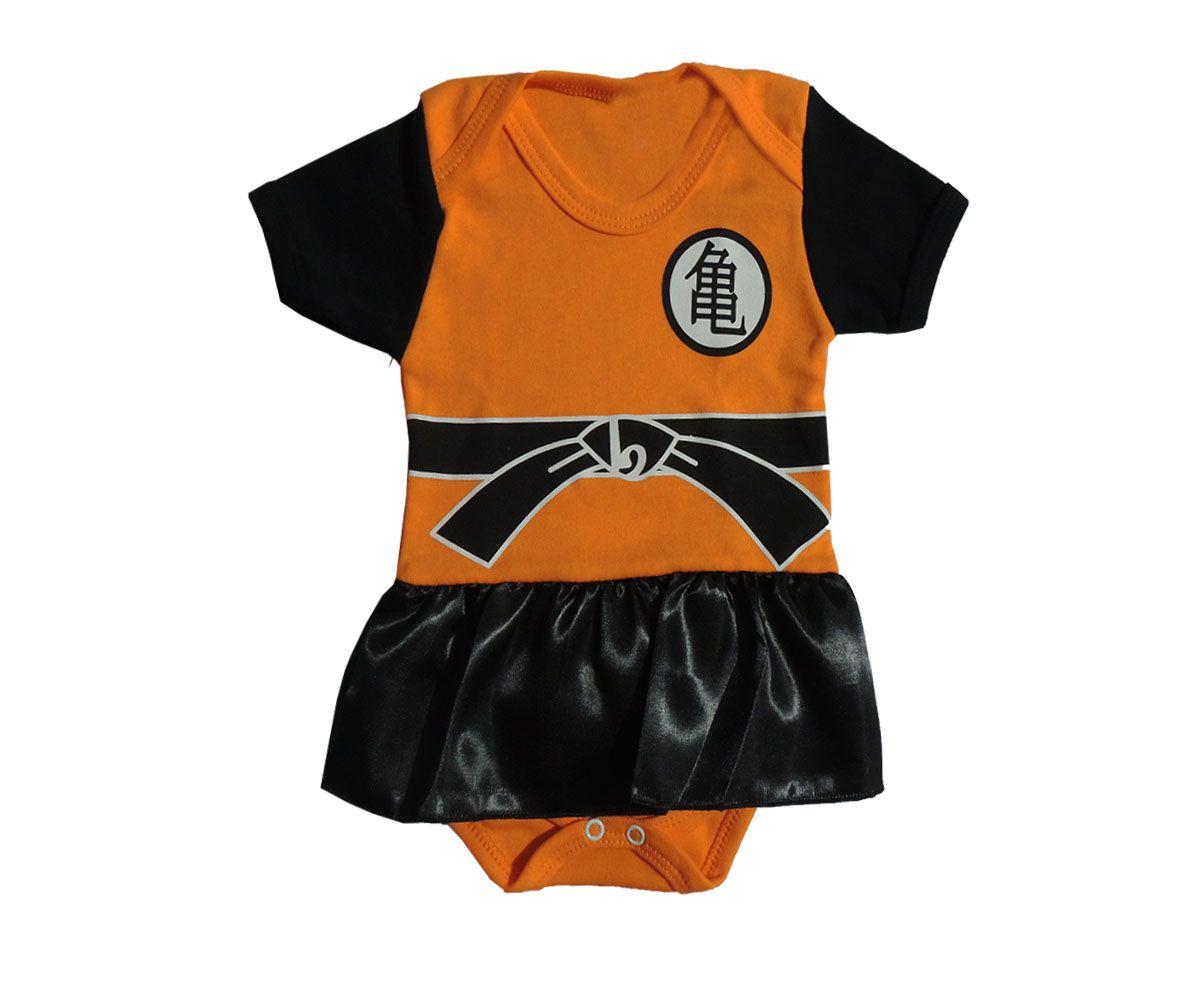 Body Bebê Menina Manga Curta Dragon Ball Com Saia
