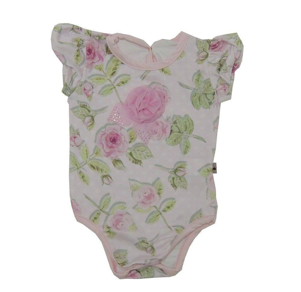 Body Bebê Menina Manga Curta Floral