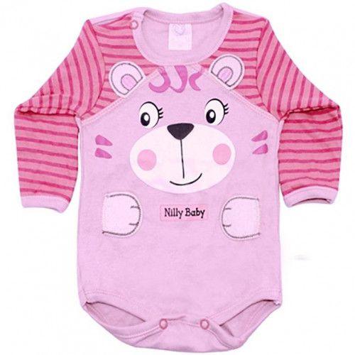 Body Bebê Menina Manga Longa Carinhas