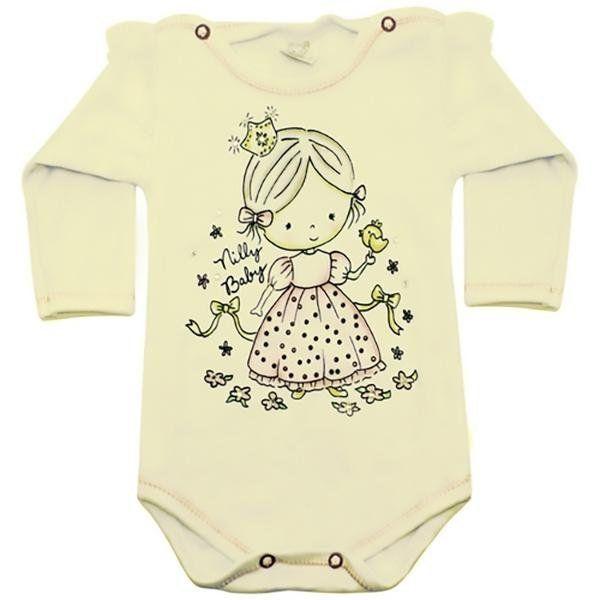 Body Bebê Menina Manga Longa Princesinha