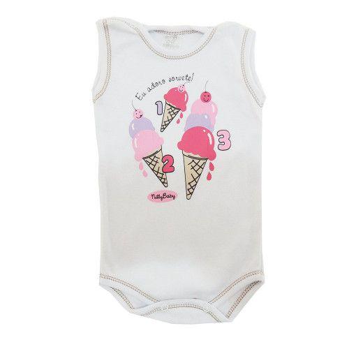 Body Bebê Menina Regata Adoro Sorvetes