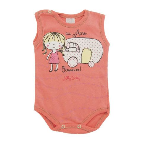 Body Bebê Menina Regata Eu Amo Passear