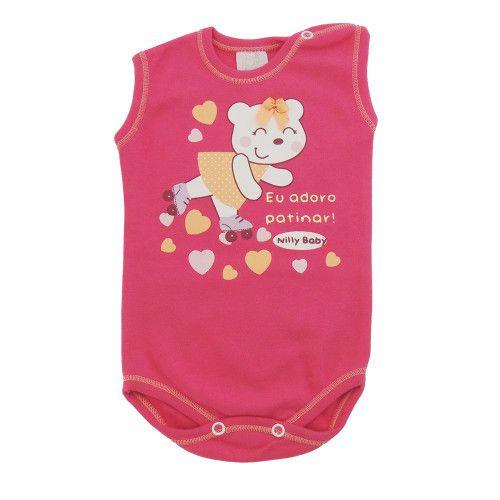 Body Bebê Menina Regata Ursinha Patinadora