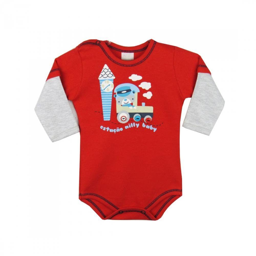Body Bebê Menino M/L Trenzinho