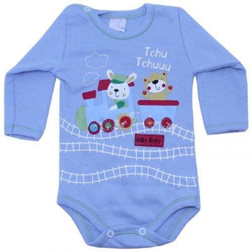 Body Bebê Menino Manga Longa Trenzinho