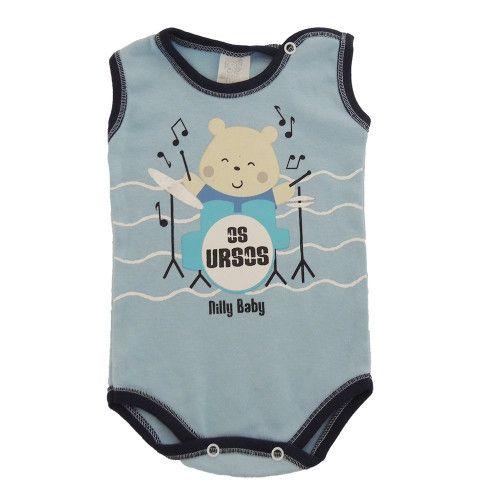 Body Bebê Menino Regata Urso Baterista