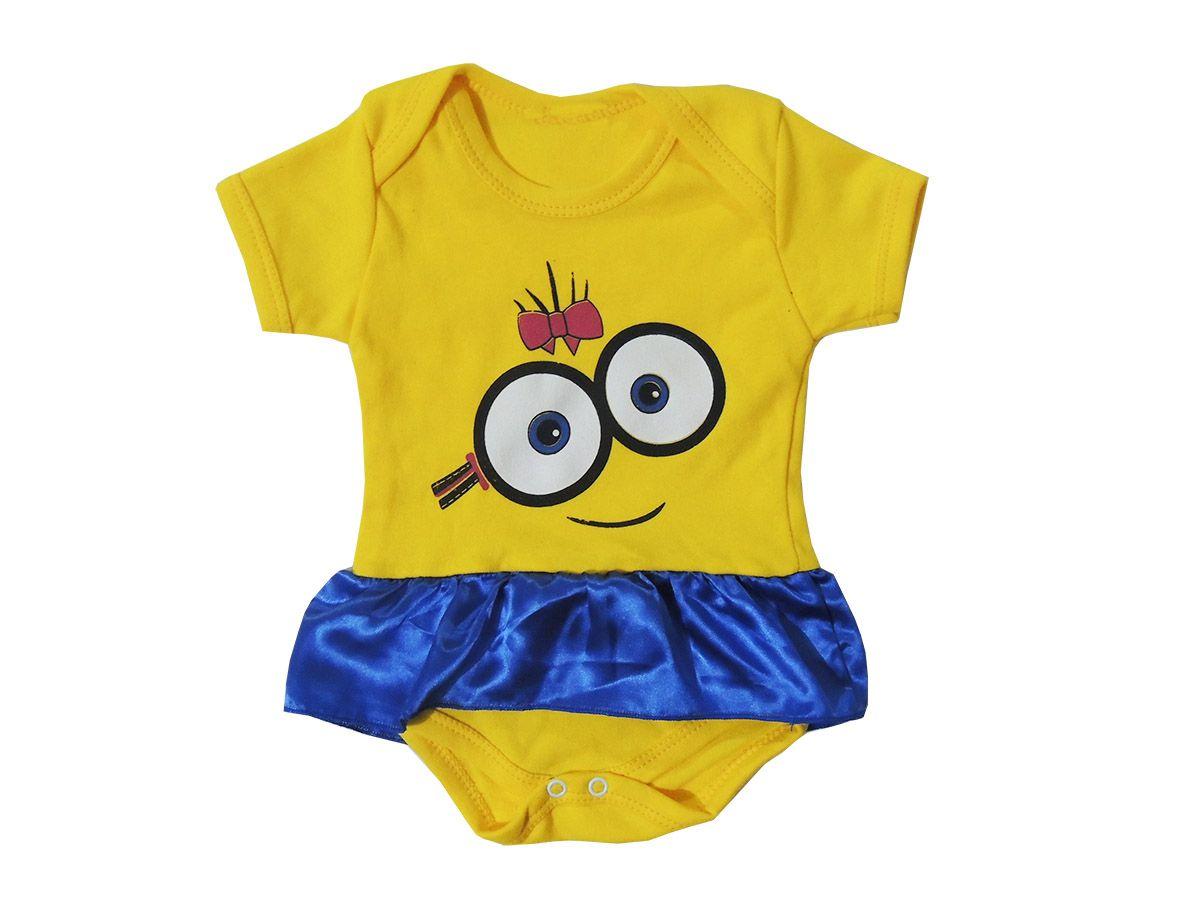 Body Bebê Minions Com Saia