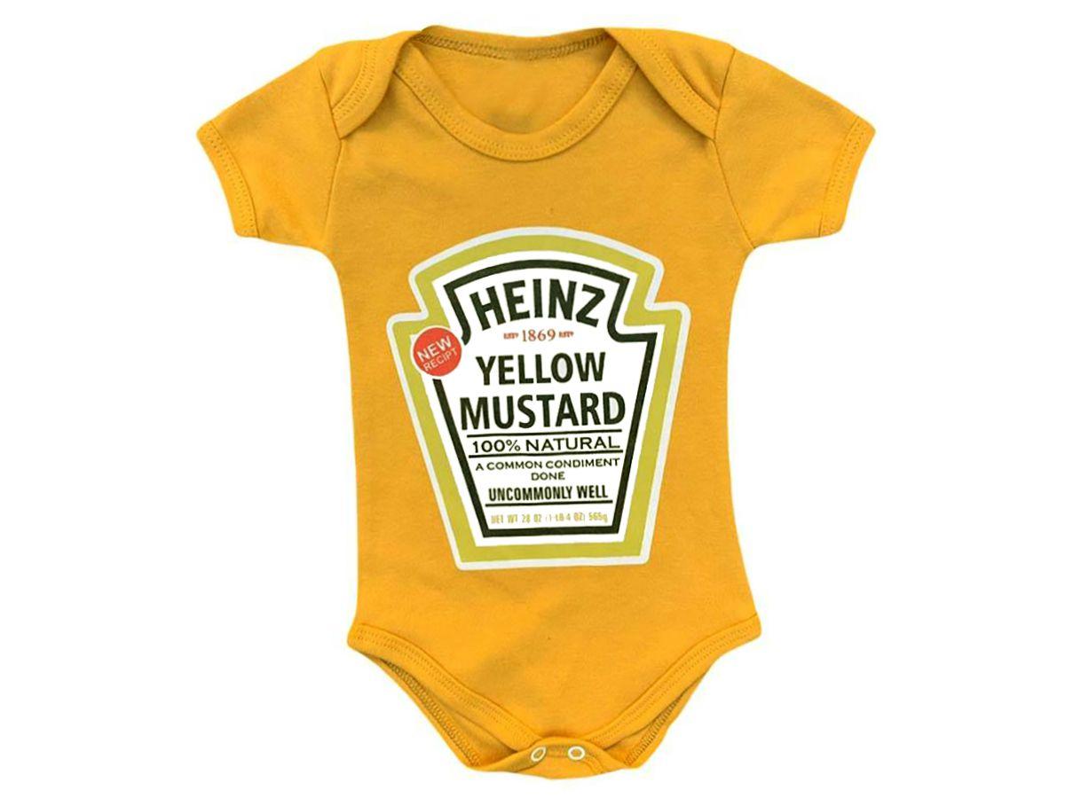 Body Bebê Manga Curta Mostarda