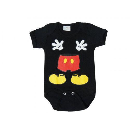 Body Bebê Personagem Manga Curta Mickey Mouse