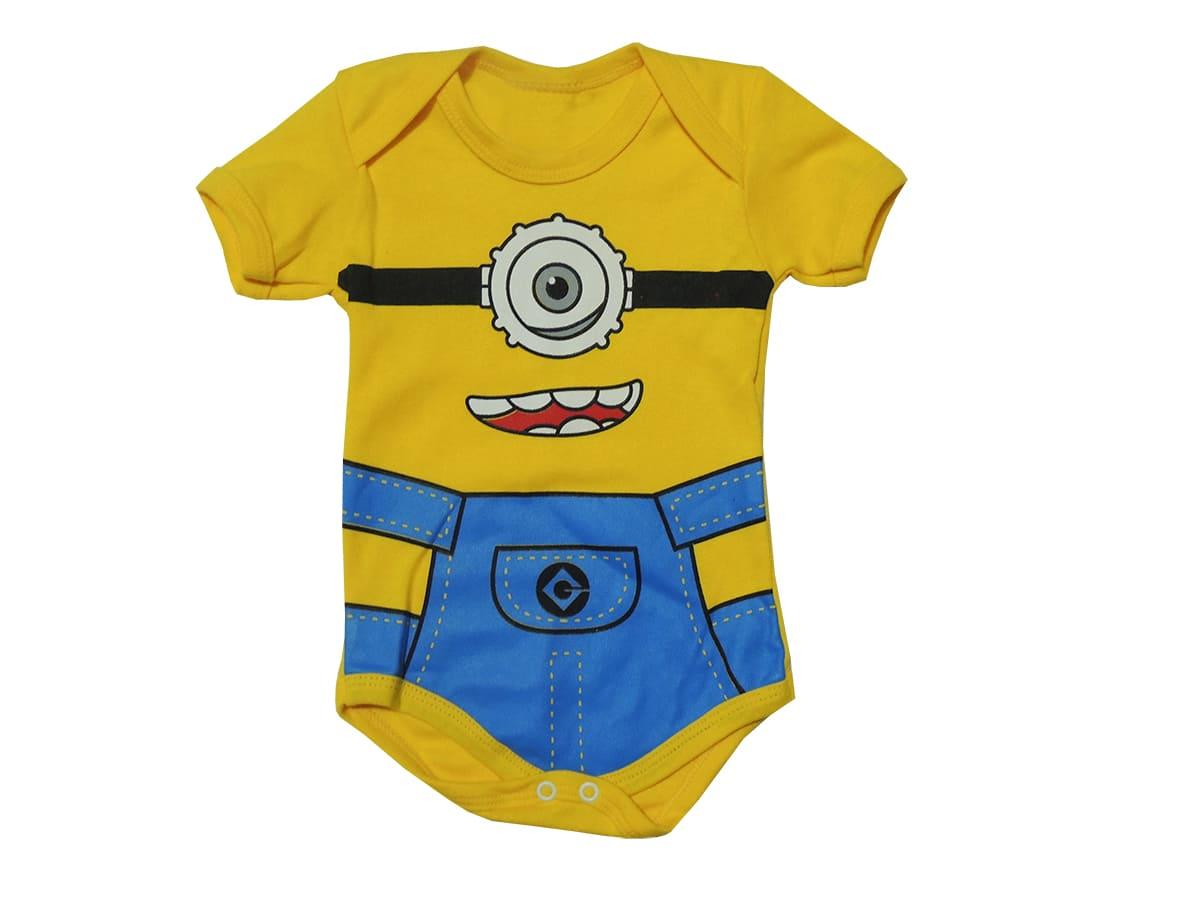 Body Bebê Personagem Manga Curta Minions