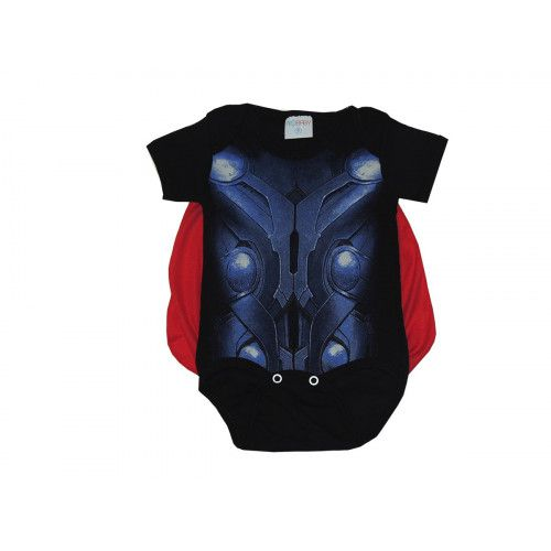 Body Bebê Personagem Manga Curta Thor com Capa