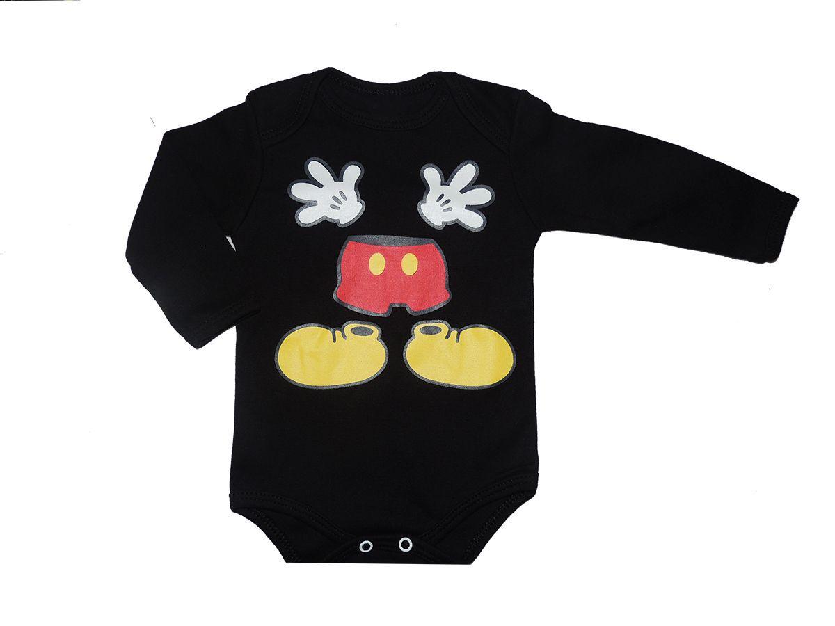 Body Bebê Personagem Manga Longa Mickey Mouse