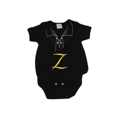 Body Bebê Personagem Zorro com Capa