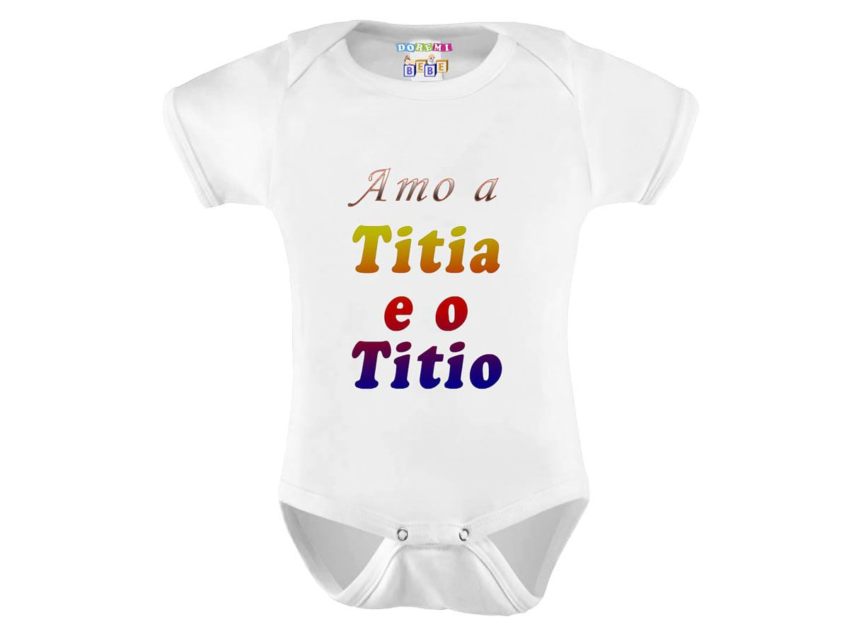 Body Bebê Personalizado Amo a Titia e o Titio