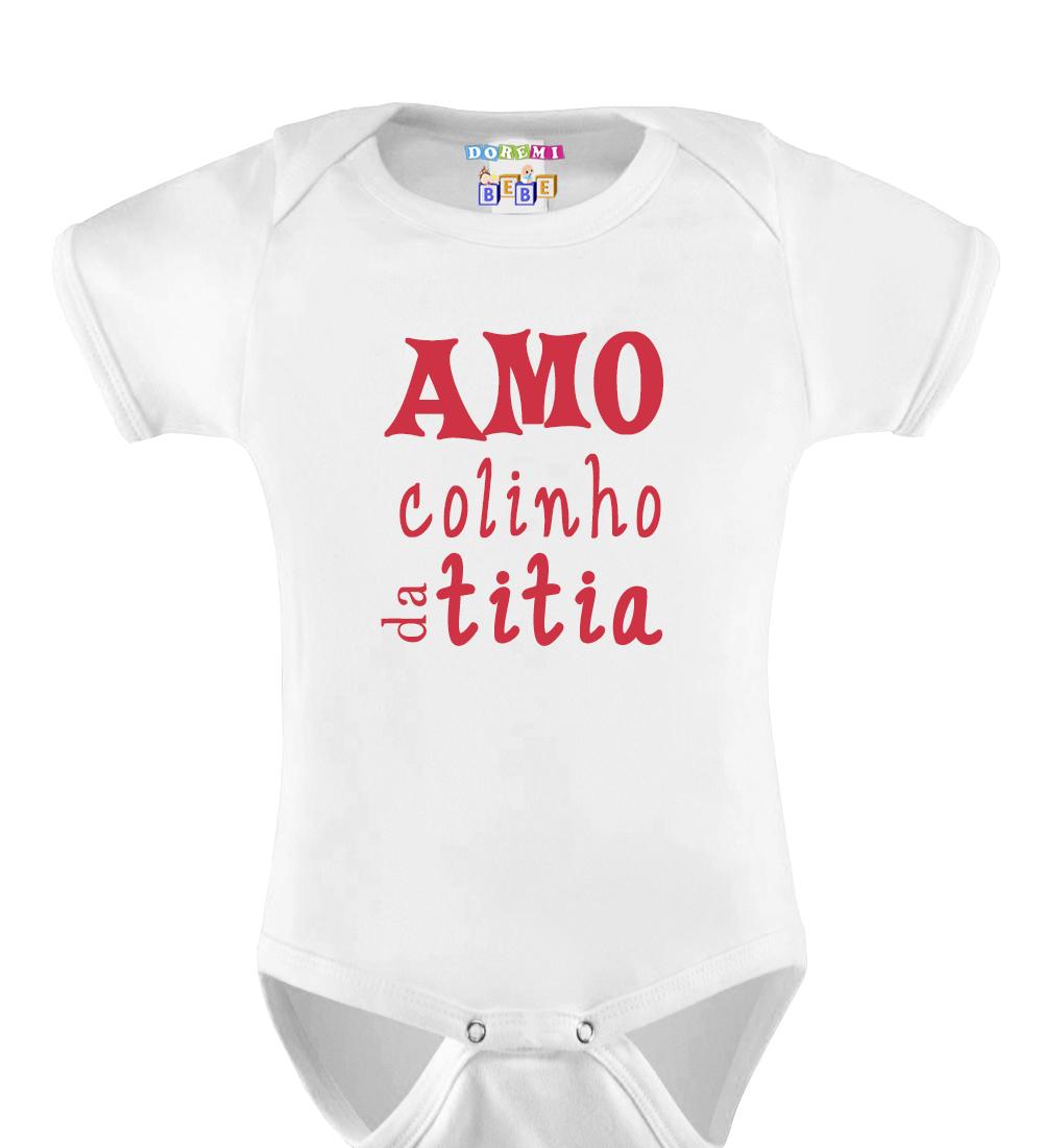 Body Bebê Personalizado Amo Colinho da Titia