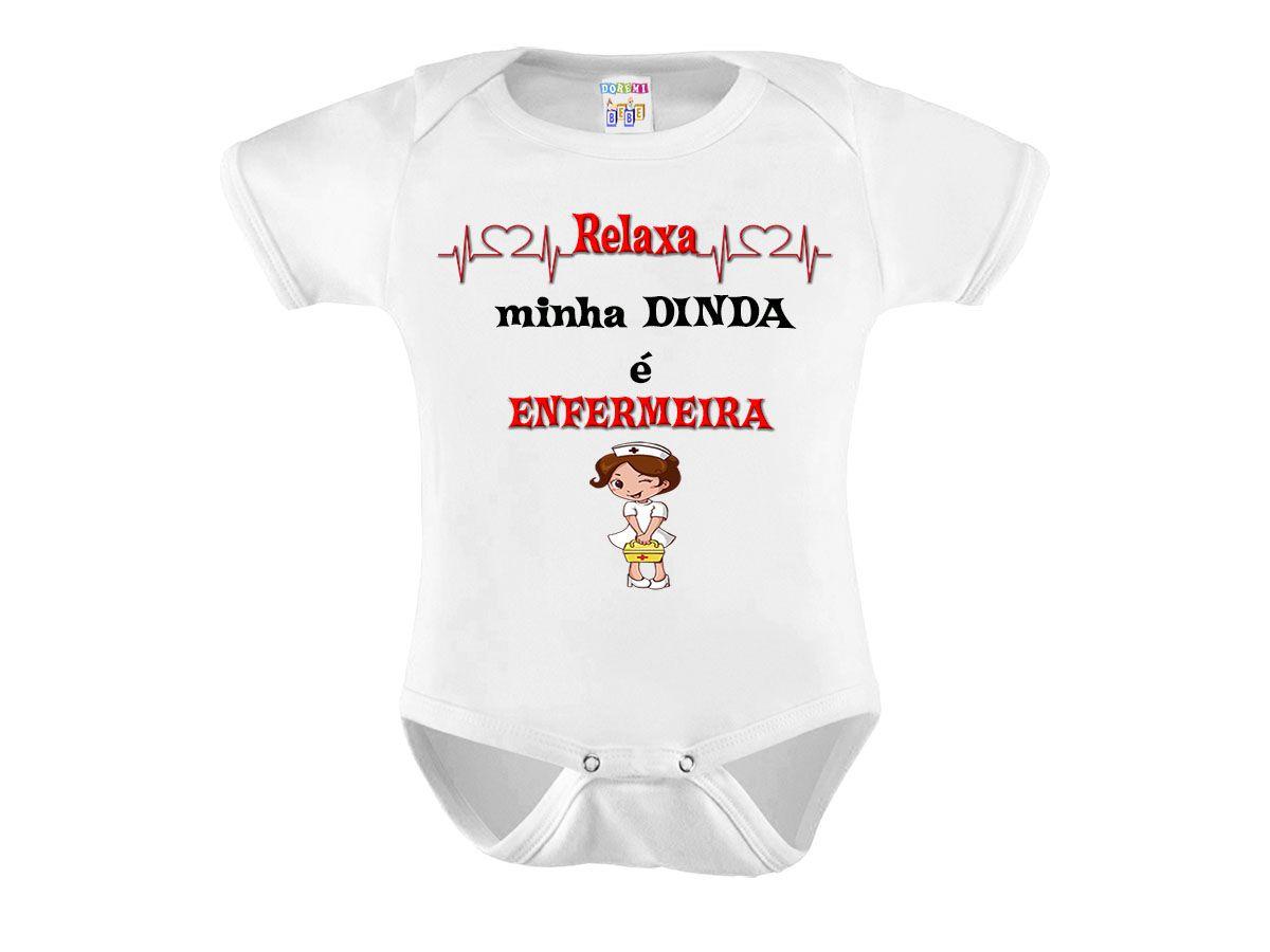 Body Bebe Personalizado Dinda Enfermeira - 0 a 12 meses