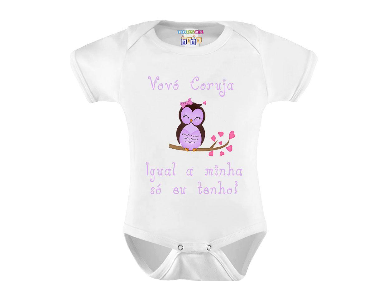 Body Bebê Personalizado Frases Vovó Coruja