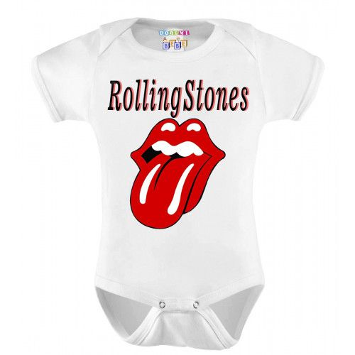 Body Bebê Personalizado Manga Curta Rolling Stones