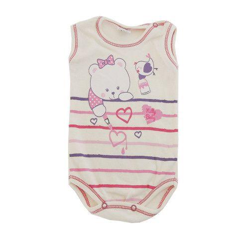 Body Bebê Regata com Estampa de Ursinha e Passarinho