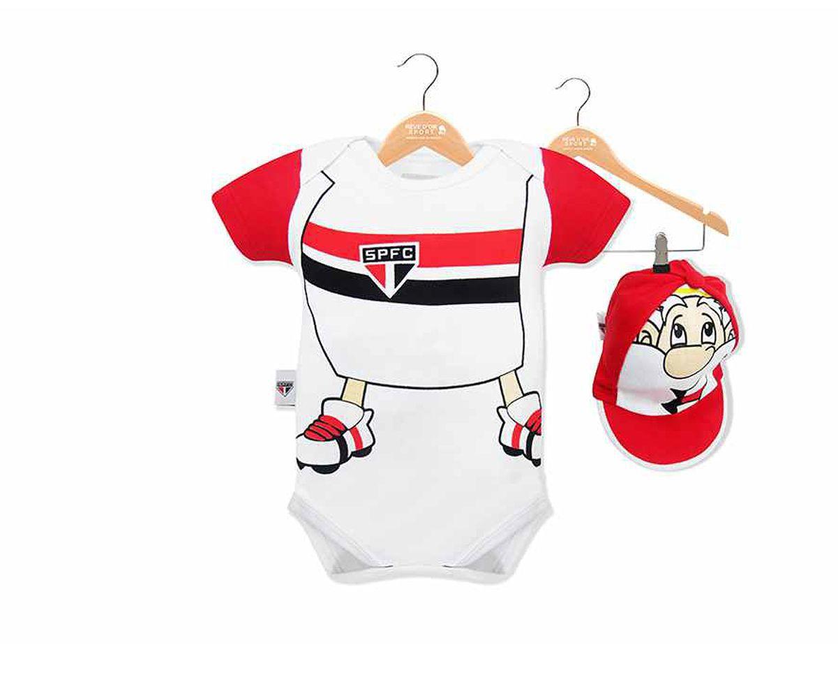 Body Bebê São Paulo Mascote com Boné Oficial