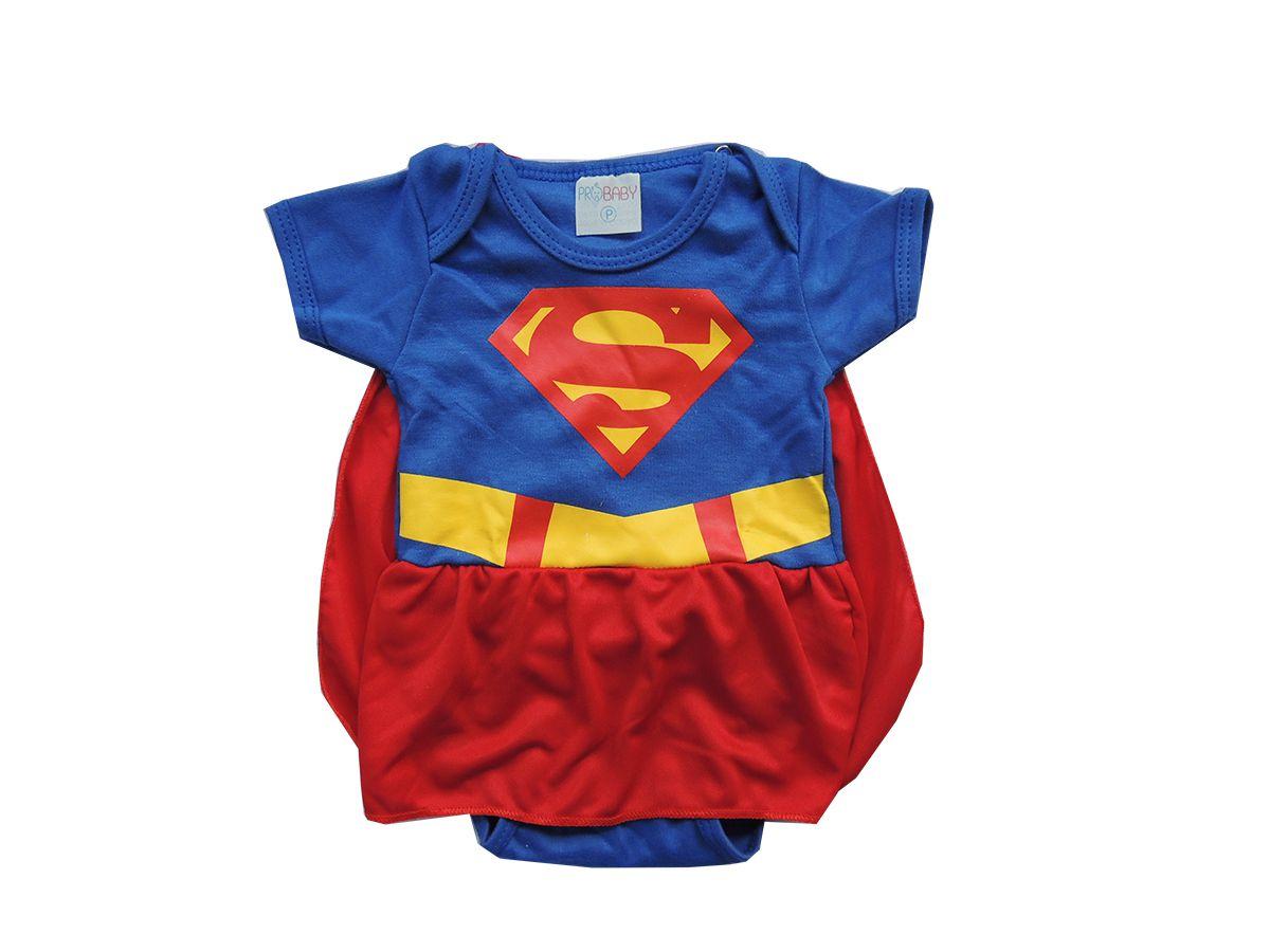 Body Bebê Super Girl com Saia