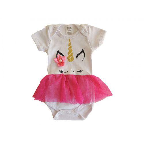 Body Bebê Unicórnio com Saia Pink