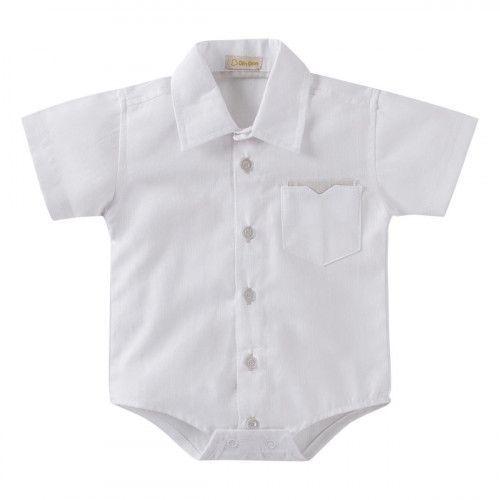 Body Camisa Infantil M/C Branca com Bolso