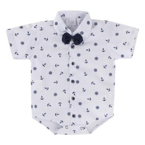 Body Camisa Infantil M/C com Gravata Borboleta Âncoras