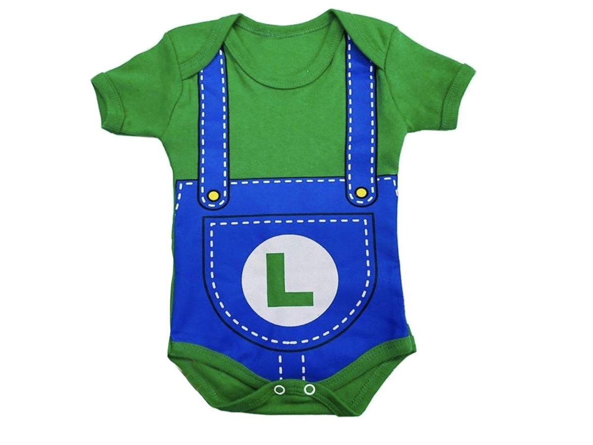 Body de Bebê Luigi do Mario Bros