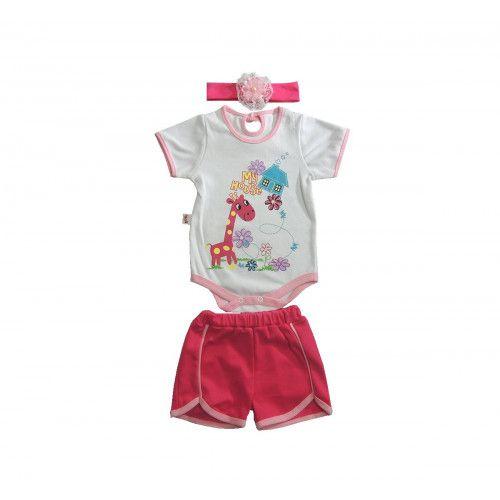 Body Infantil Feminino com Shorts e Tiara Estampado