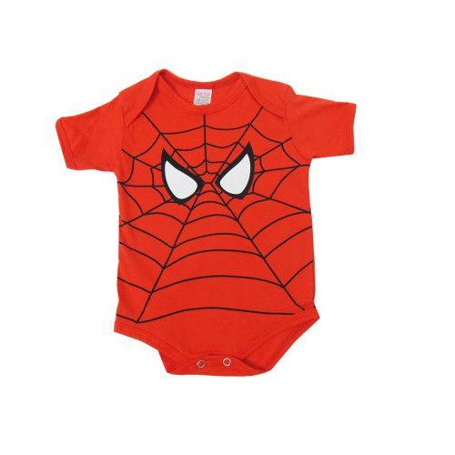 Body Infantil Manga Curta Homem Aranha