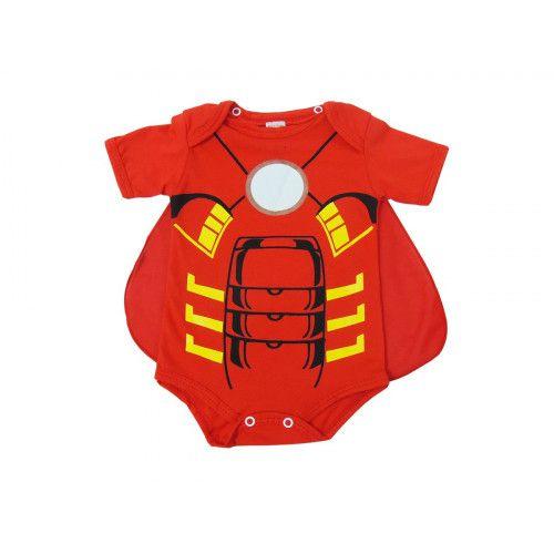 Body Infantil Manga Curta Homem de Ferro