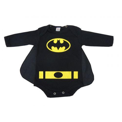 Body Infantil Manga Longa Batman com Capa