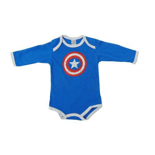 Body Infantil Manga Longa do Capitão América