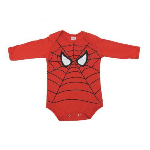 Body Infantil Manga Longa Homem Aranha