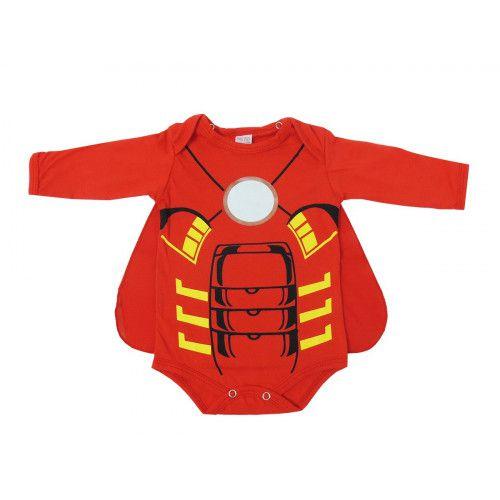 Body Infantil Manga Longa Homem de Ferro