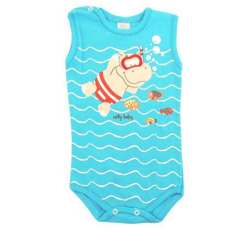 Body Infantil Menino Regata Hipopótamo Mergulhador