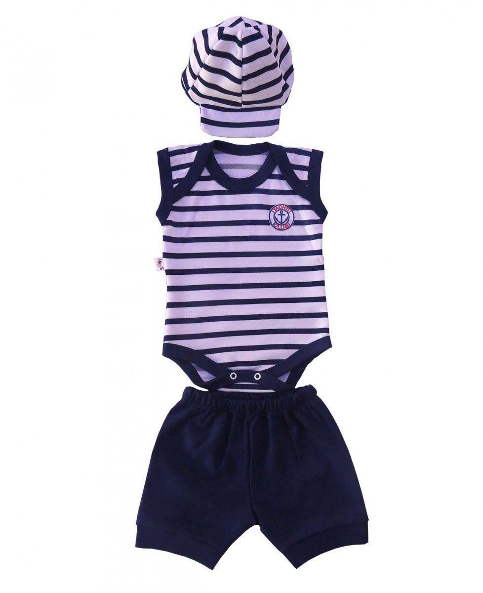 Body infantil Menino Yachti Club com Boné e Shorts