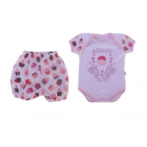 Body infantil Sweet Menina com Shorts