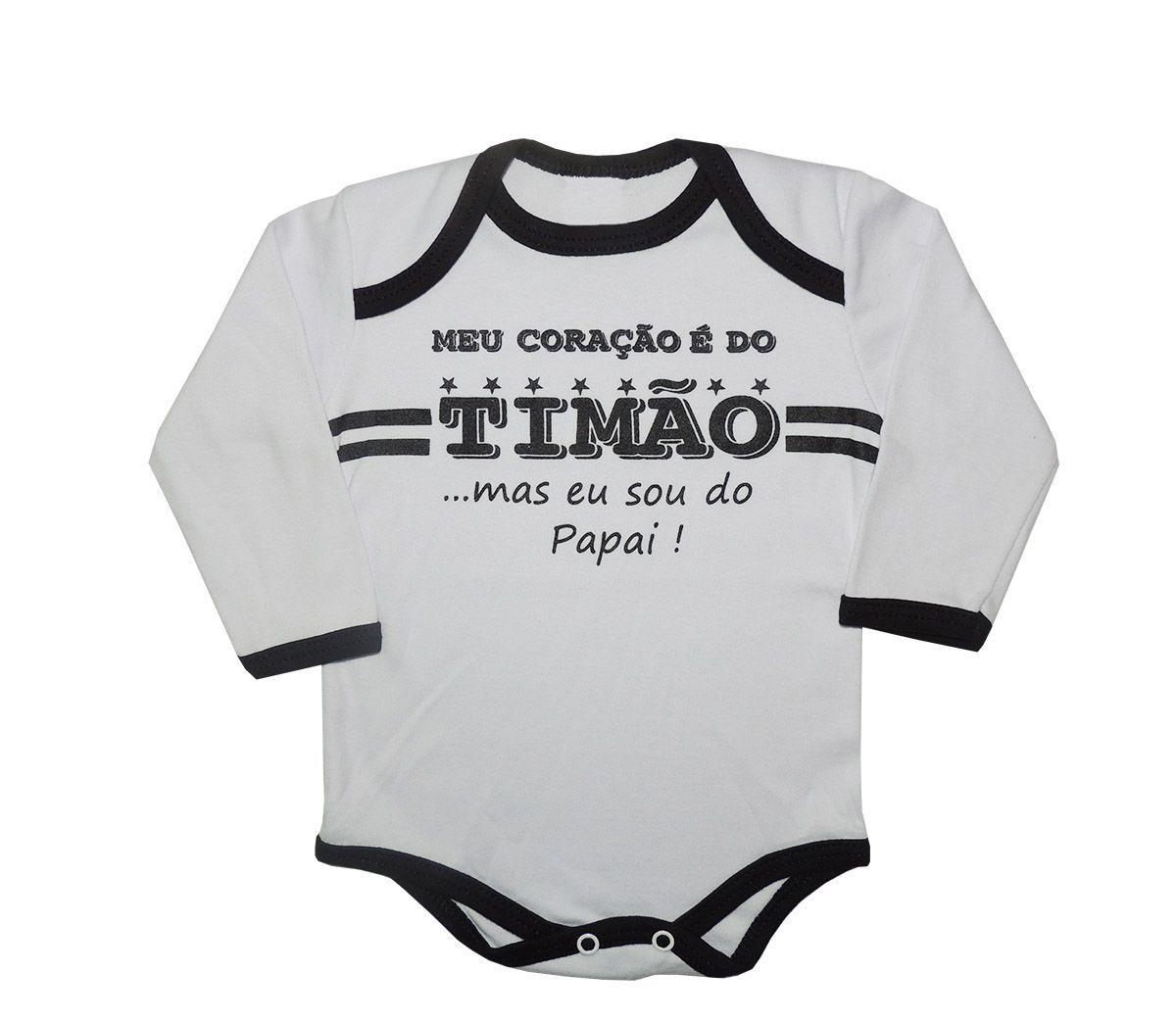Body Longo Bebê Frases Meu Coração é do Timão