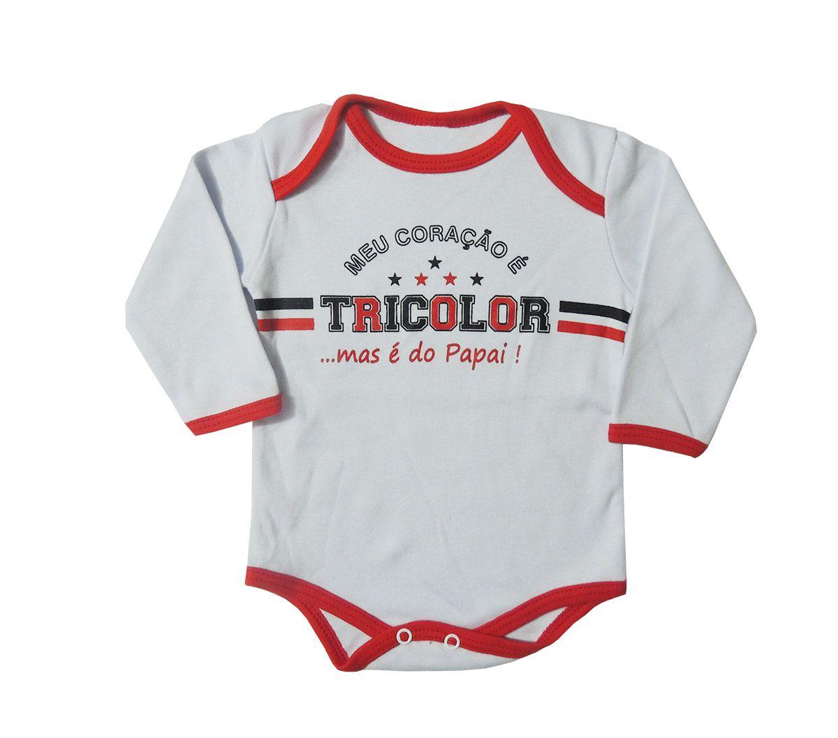 Body Longo Bebê Frases Meu Coração é do Tricolor