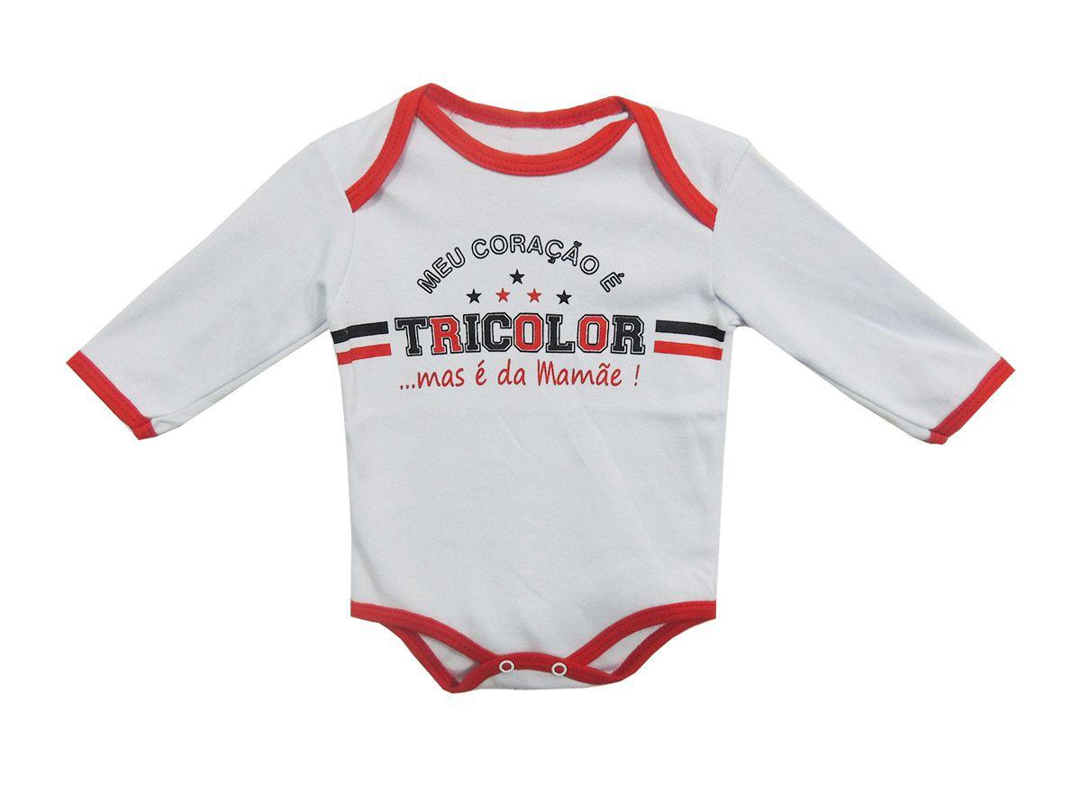 Body Longo Bebê Frases Meu Coração é do Tricolor Mas Sou da Mamãe