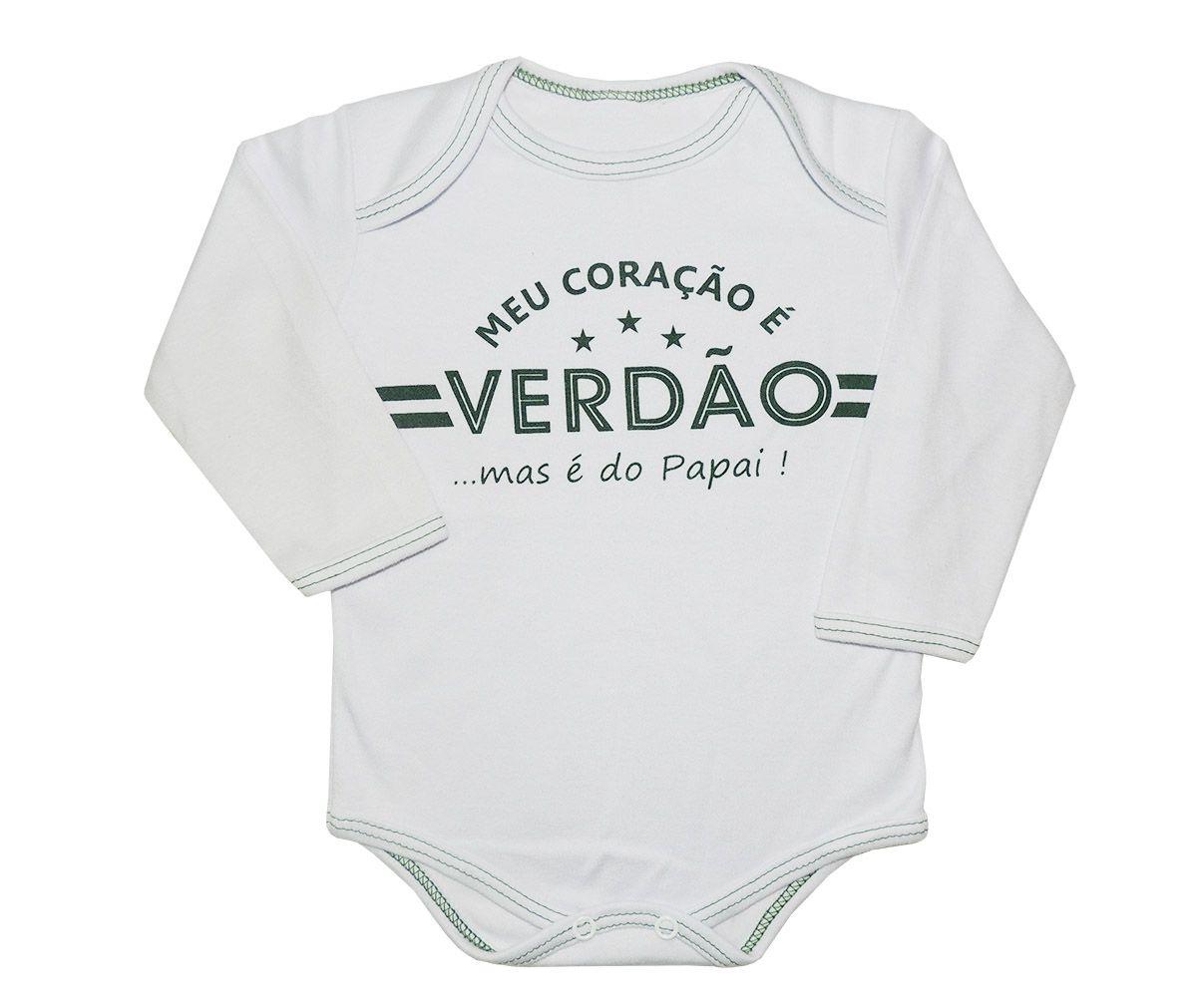 Body Longo Bebê Frases Meu Coração é do Verdão