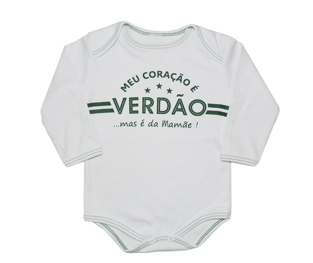 Body Longo Bebê Frases Meu Coração é do Verdão Mas Sou da Mamãe