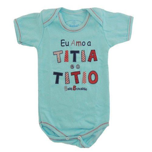 Body M/C Com Estampa Eu Amo a Titia e o Titio - Menino