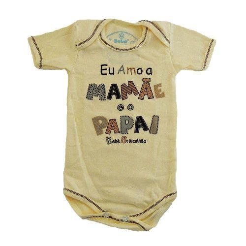 Body Manga Curta Amo a Mamãe e o Papai