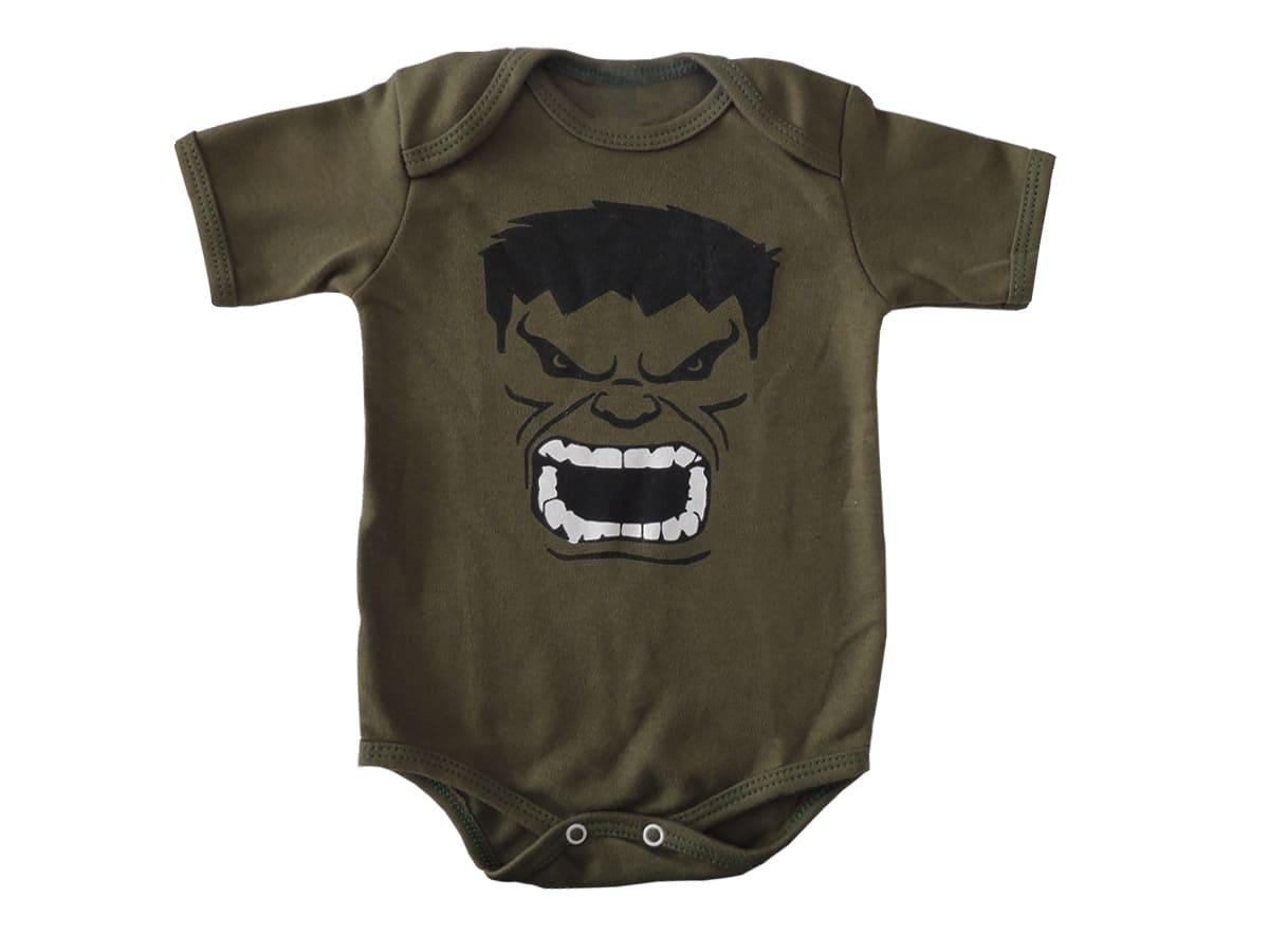 Body Manga Curta Bebê Hulk