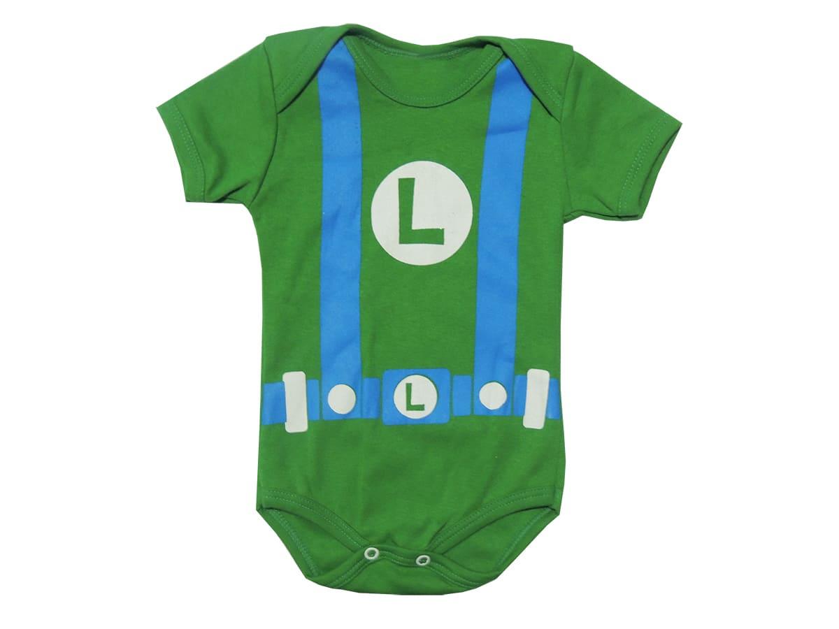 Body Manga Curta Bebê Luigi - Mario Bros