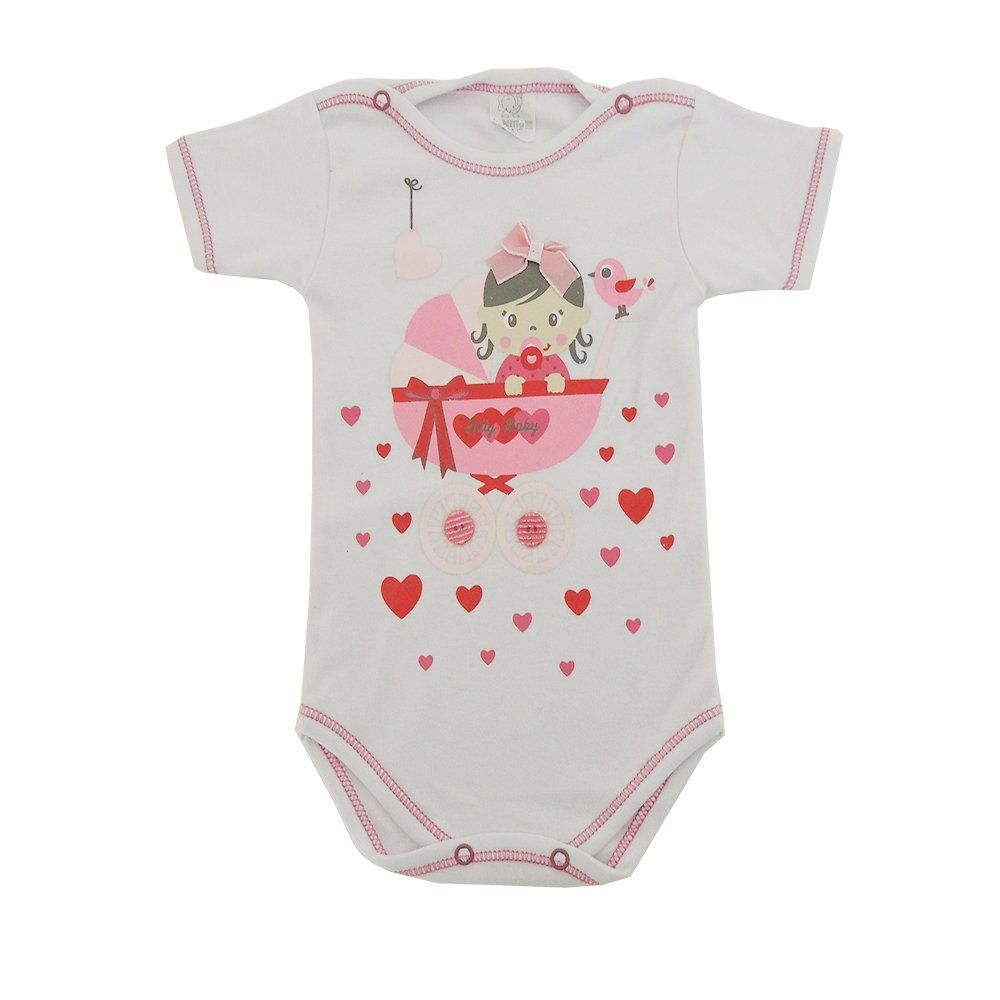 Body Manga Curta Bebê no Berço e Aplique de Botões